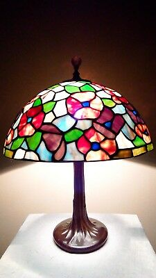 Small Vintage Floral Stained Glass Shade on Metal Tree-Trunk Base Lamp