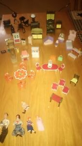 Vintage 1970s Doll House Furniture and Family