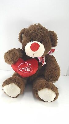 Valentine Brown Teddy Bear Love Heart White Ribbon Plush Stuffed Animal Soft 11