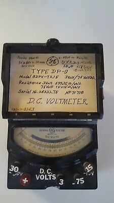 Vintage General Electric Dc Voltmeter Type Dp-9 Model 8dpv-y215 05