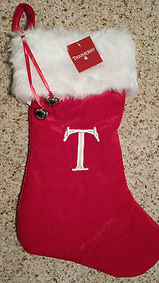 "MONOGRAMMED PLUSH CHRISTMAS STOCKING w/ Bells, LETTER  ""T""  Xmas Decoration NEW!"