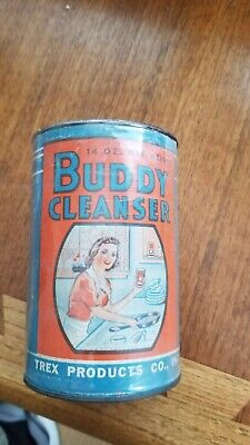 VINTAGE Lustro KITCHEN Buddy CLEANSER SOAP CAN SIGN 1940s OLD NOS Bathroom