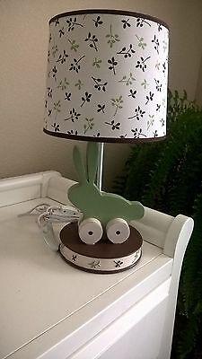 Lamp Kidsline Bunny Meadows Baby Nursery Sage Brown Green HTF Retired