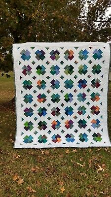 Handmade! Batik Card Trick Cotton Quilt with free-motion quilted stitching