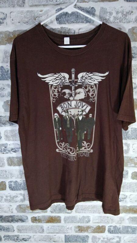 BON JOVI~2010 The Circle Tour~ Size XL~Concert Tour Double Sided Brown T-Shirt