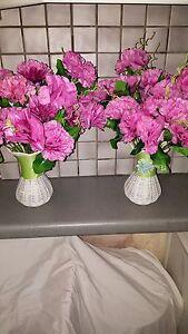 2-Set-Seta-Artificiale-Rosa-Colore-Garofano-Fiori-amp-vasi-decorazioni-tavola