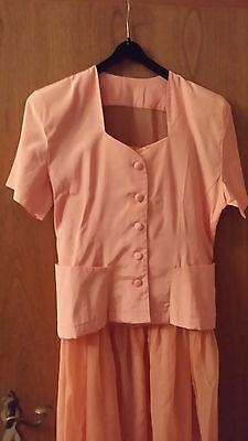 Kleid 2-teilig Rock und Jacke kurze Arme Gr. M aprikot edel schick Chiffon Chiffon Kurze Kleid Rock