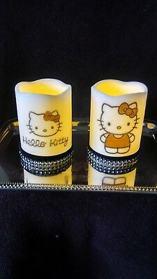 Set of Hello Kitty Led Flameless Candles Valentine day gift Bling vanity Candle (Day Candle Set)
