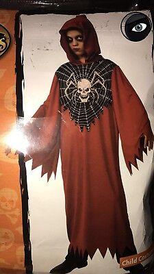 """Childs Halloween Costume """"HORROR ROBE """" Skull Reeper Devil Spider Sz M (8-10)NEW"""