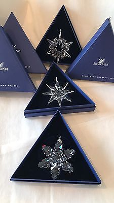 Swarovski Annual Edition Snowflake Christmas Ornament 2007, 2008, 2009 - RETIRED
