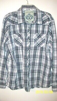 acb83cd2 mens western size XL pearl snap down black gray touch of blue white plaid  long s