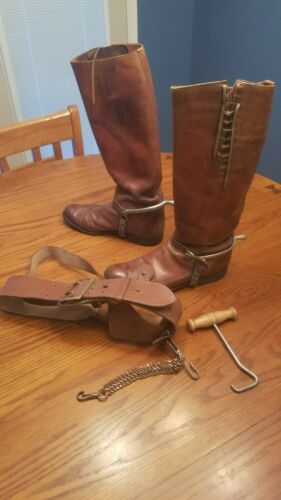 WW1 WW2 Cavalry Boots Size 11 with Elite English Spurs and Sam Browne Belt