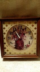 Vtg Mid Century Kitchen Clock Retro Wood Square Weave Glass Floral Battery Wall