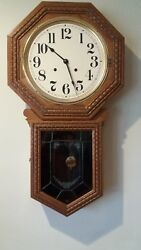 Vintage Large Oak Regulator Pendulum Chime Wall Clock 33 Signed & No. Works