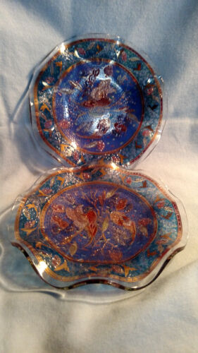 Pair of Glass Mosaic Pattern Plates or Coasters - Pheasant Decoration