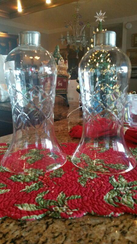 Antique Pair Of Bohemian Glass Hurricane Shades- Cut Crystal