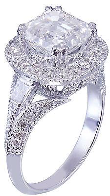 GIA I-VS2 18k White Gold Asscher Cut Diamond Engagement Ring Etoile Deco 2.85ctw 7