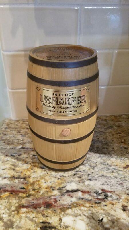 I W Harper 86 Proof Kentucky Straight Bourbon Whiskey Barrel Decanter