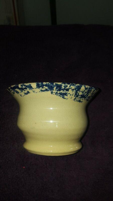 RARE Vintage Old BLUE Spongeware Glazed Pottery, Stoneware Reamer, Orange Juicer