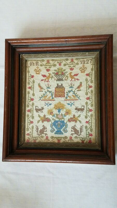 1927 House Floral Bird Sampler By M.R Americana Decor Shabby