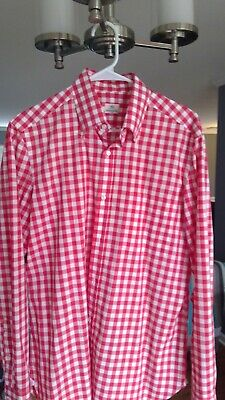 Borrelli Napoli Red Check Button Down Collar Dress Shirt 15 3/4