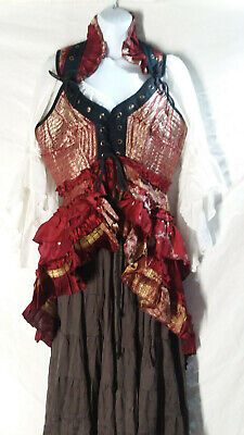 Pirate Steampunk Renaissance Tribal Belly Dance Costume Bodice Vest Tail Skirt](Renaissance Belly Dancer Costume)