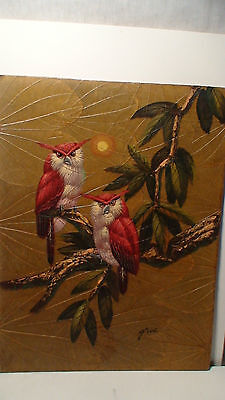 ART DECO GRIS  OWLS- AUDUBON BIRDS OF PARADISE OIL ON LEAF/ BOARD  1 0F 7   D