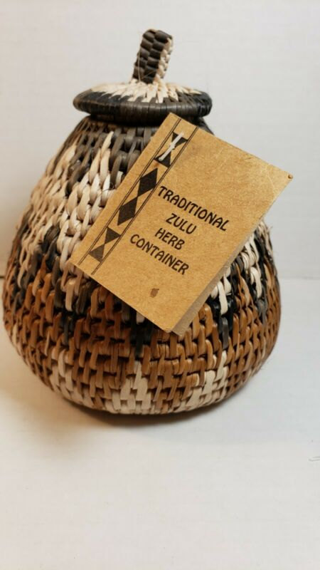 Traditional Zulu Hand Woven Basket  South Africa Herb Container NEW w Tags