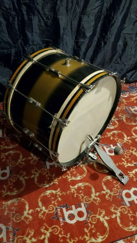 WFL 22x14 Black/Gold Duco Bass Drum Late-1950s Ludwig Calf-Skin