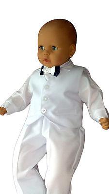 Taufanzug Baby Junge Kinder Hochzeit Anzüge Festanzug, 4tlg , Weiß K5