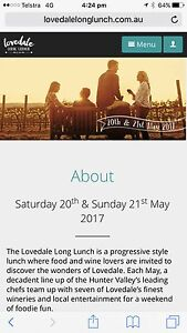 1 x Lovedale Long Lunch Tickets Glendon Brook Singleton Area Preview