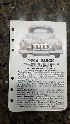 1946 Buick Vintage dealer literature Special/Super /Roadmaster series