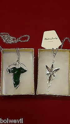 Lord of The Rings Green Leaf Elven Pin Necklace & Arwen Evenstar Pendant (Lord Of The Rings Arwen Evenstar Pendant Necklace)