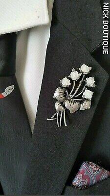 Vintage Look Lapel Brooch Oxidised Silver Bunch Flower White Rose Leaf Pin