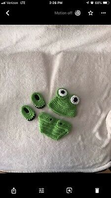 Halloween Costume Crochet Knit Baby Frog Outfit Infant Photo Shoot