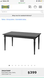 Ikea black dining set, current season stock!