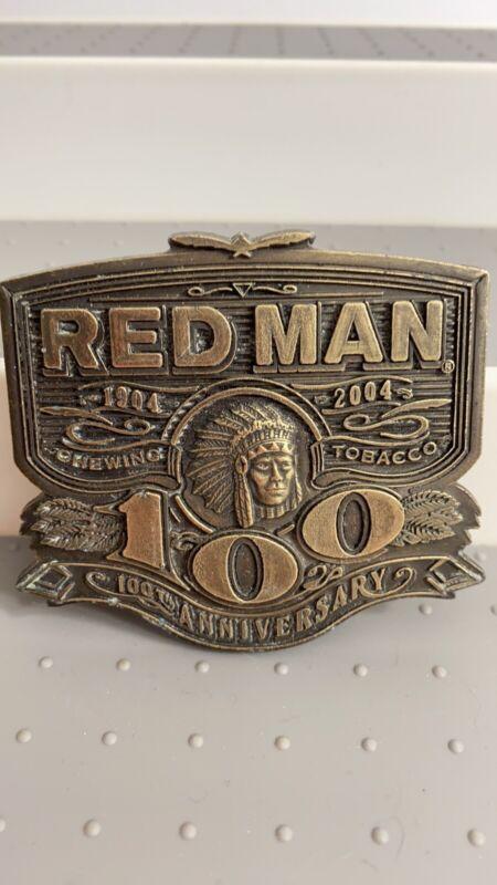 Red man Tobacco 100th Anniversary Brass Belt Buckle