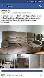 Sofa. 3 seater and 2 recliners Coolamon Coolamon Area Preview