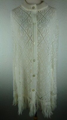 Vintage 70s Drop Shoulder Fringed Knit Lace Cardigan English Village Japan X