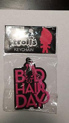 NIP NEW Good Luck TROLLS 'Bad Hair Day' Girls pink/black keychain/clip