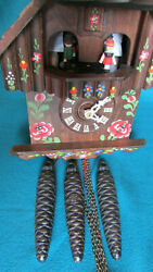 Cuckoo Clock 1 day Musical Hand Carved & Hand Painted Black Forest German