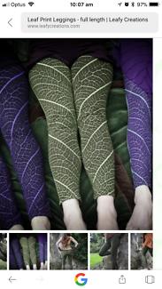 Leafy Creations Purple/Black Leaf Print Leggings