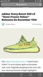 Size 10 Yeezy Boost 350 v2 Semi Frozen Yellow