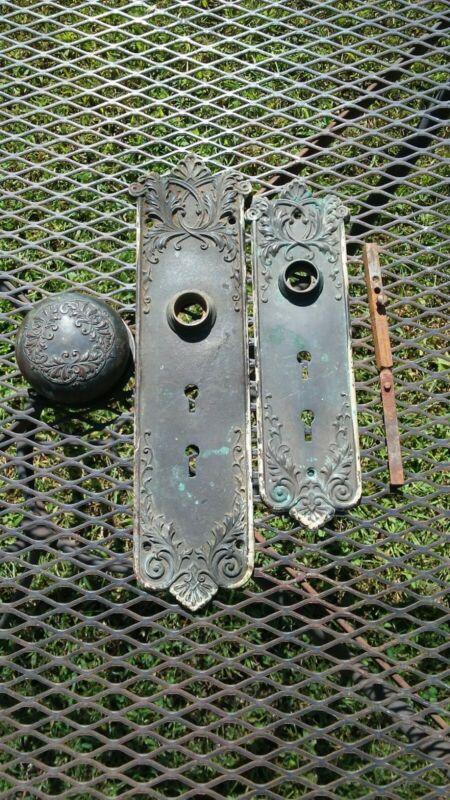 Antique Victorian Art Deco Door Face Plate Hardware With Door Knob