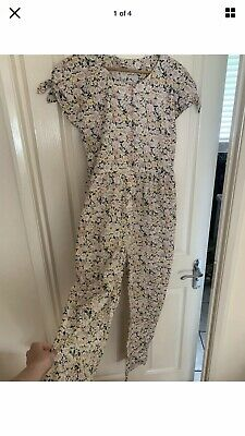 Rare Unusual VINTAGE LAURA ASHLEY JUMPSUIT M/L Romper Floral Pink