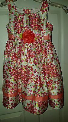 Youngland Multi-Color Floral Girl's Dress With Flower Sparkles Ribbon Sz5 Easter