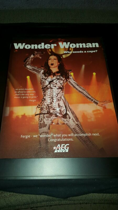 Fergie Wonder Woman AEG Live Rare Original Promo Poster Ad Framed!