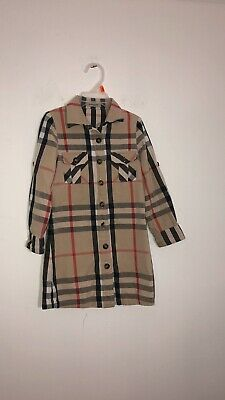 Burberry Children Youth Girl Plaid Checked Tunic/ Shirt Dress Long Sleeve