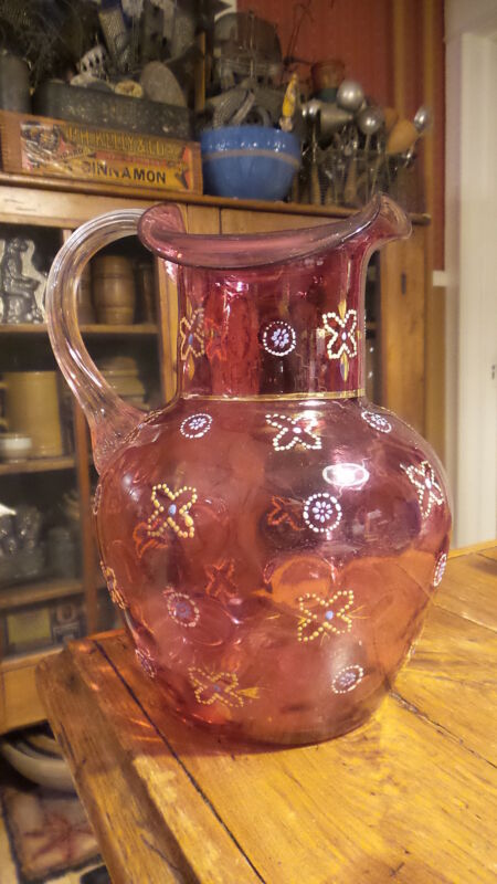 """Antique CRANBERRY ENAMELED Coin Dot ART GLASS PITCHER 9"""",Clear Handle"""
