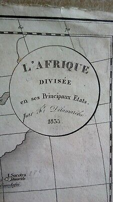 Kupferstich-Landkarte von Afrika und wichtigste Staaten , Felix Delamarche 1835